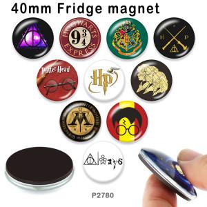 10個/ロットさまざまなサイズのハリーポッターガラス画像印刷製品冷蔵庫用マグネットカボション