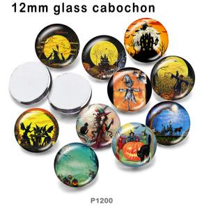 さまざまなサイズの10個/ロットハロウィンかかしガラス絵印刷製品冷蔵庫マグネットカボション