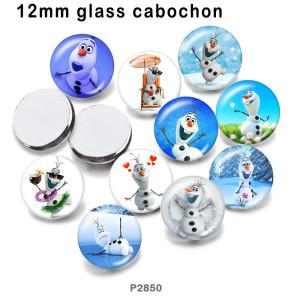 10個/ロットさまざまなサイズのスノーマンガラス画像印刷製品冷蔵庫用マグネットカボション