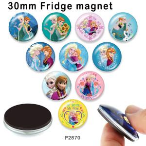 10個/ロットスノーマンプリンセスプリンセスガラス写真印刷製品各種サイズ冷蔵庫マグネットカボション