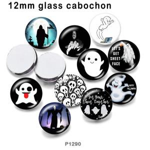 さまざまなサイズの10個/ロットハロウィンガラス絵印刷製品冷蔵庫マグネットカボション
