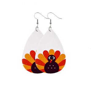 Boucles d'oreilles en cuir de feuille d'érable de dinde citrouille de Thanksgiving