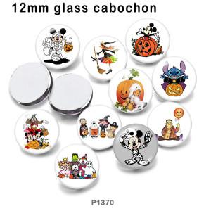 さまざまなサイズの 10 ピース/ロットハロウィンガラス絵の印刷製品冷蔵庫マグネットカボション