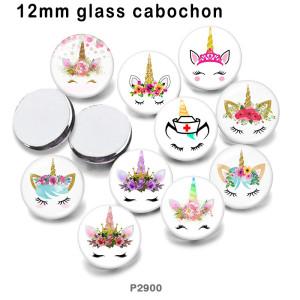10 ピース/ロットさまざまなサイズのユニコーン ガラス絵の印刷製品冷蔵庫マグネット カボション