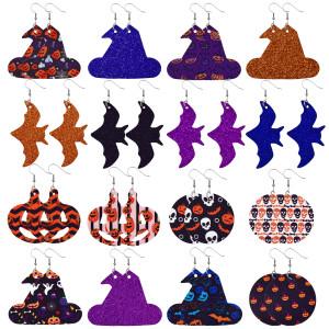 Кожаные серьги с черепом и тыквой на Хэллоуин