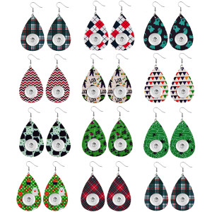 Halloween Leder Snap Ohrring passend für 20MM Druckknöpfe Stil Schmuck Tropfenform