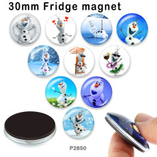 10 pcs/lot produits d'impression d'image en verre bonhomme de neige de différentes tailles cabochon d'aimant de réfrigérateur