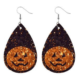 Boucles d'oreilles Halloween citrouille crâne en cuir
