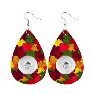 Thanksgiving Maple Leaf Leder Snap Ohrring passend für 20MM Snaps Style Schmuck