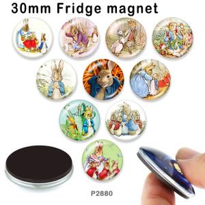 さまざまなサイズの10個/ロットのウサギガラス画像印刷製品冷蔵庫用マグネットカボション