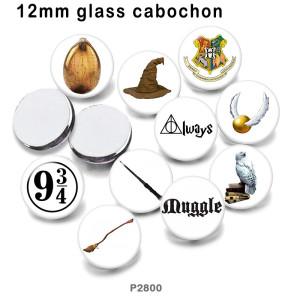 10個/ロットフクロウハットガラス画像印刷製品各種サイズ冷蔵庫マグネットカボション