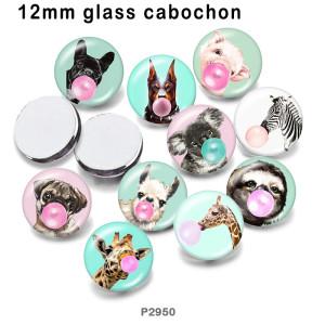 10 pcs/lot Chien Cerf zèbre verre image produits d'impression de différentes tailles Réfrigérateur aimant cabochon