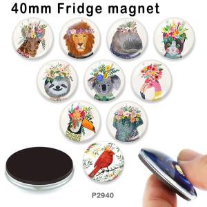 10 pcs/lot éléphant chat flamant rose produits d'impression d'image en verre de différentes tailles aimant de réfrigérateur cabochon