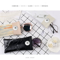 Marble pattern stitching magnet suction pocket glasses bag waterproof pu leather glasses bag fit 18&20mm snap buttom sanp jewelry
