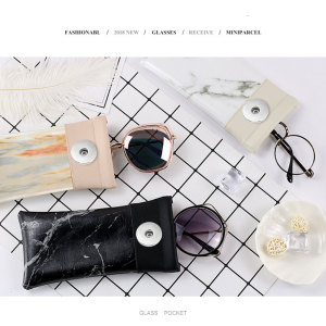 Motif de marbre couture aimant poche d'aspiration sac de lunettes étanche en cuir pu sac de lunettes fit 18 & 20mm bouton pression sap bijoux