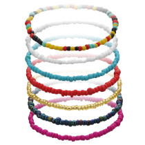 Bracelet élastique pour femme en perles de riz de couleur simple et à la mode