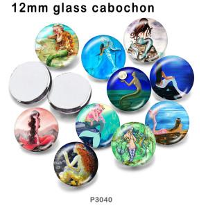 10pcs / lot Meerjungfrau-Glasbilddruckprodukte in verschiedenen Größen Kühlschrankmagnet Cabochon