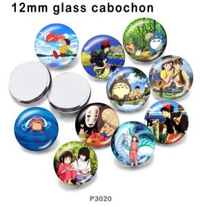 10pcs / lot Spirited away Glasbilddruckprodukte in verschiedenen Größen Kühlschrankmagnet Cabochon