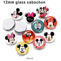 10個/ロットさまざまなサイズの漫画ミッキーガラス絵印刷製品冷蔵庫マグネットカボション