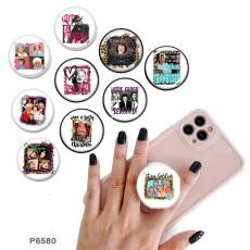 セレブリティ携帯電話ホルダー黒または白のプリントパターンベースの塗装済み電話ソケット