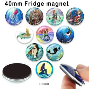 10 pcs/lot produits d'impression d'image en verre de sirène de différentes tailles cabochon d'aimant de réfrigérateur