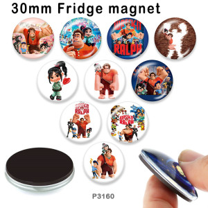 10pcs / lot Wreckit Ralph Glasbilddruckprodukte in verschiedenen Größen Kühlschrankmagnet Cabochon