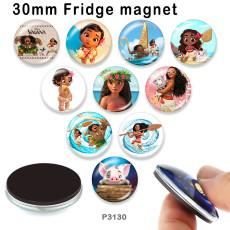 10 pcs/lot produits d'impression d'image en verre princesse de dessin animé de différentes tailles cabochon d'aimant de réfrigérateur
