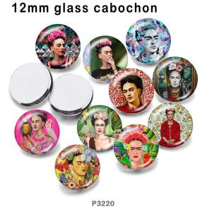 10pcs / lot Musterglasbilddruckprodukte in verschiedenen Größen Kühlschrankmagnet Cabochon