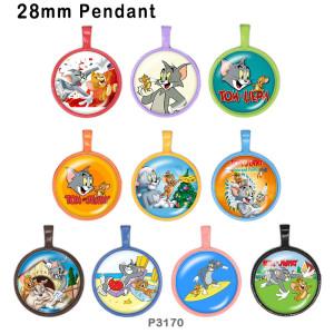 10pcs / lot Tom und Jerry Glasbilddruckprodukte in verschiedenen Größen Kühlschrankmagnet Cabochon