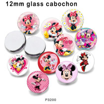 10 pcs/lot dessin animé Mickey produits d'impression d'images en verre de différentes tailles cabochon d'aimant de réfrigérateur