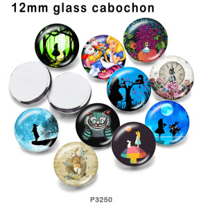 さまざまなサイズの10個/ロットプリンセスガールガラス画像印刷製品冷蔵庫マグネットカボション