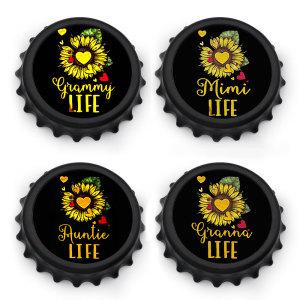 Новый 7.7 см черная форма крышки бутылки фотографии печать штопор / магнит на холодильник