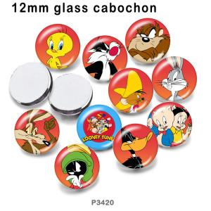 10 шт. / Лот, мультяшная стеклянная продукция для печати различных размеров, магнит на холодильник, кабошон