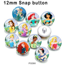 10 pcs/lot produits d'impression d'image en verre princesse de différentes tailles cabochon d'aimant de réfrigérateur