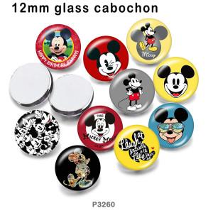 10 pcs/lot dessin animé Mickey produits d'impression d'image en verre de différentes tailles cabochon d'aimant de réfrigérateur