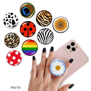 Motif animal Le support de téléphone portable Prises de téléphone peintes avec une base à motif imprimé noir ou blanc