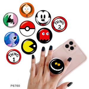 Bande dessinée Le support de téléphone portable Prises de téléphone peintes avec une base de motif d'impression noir ou blanc
