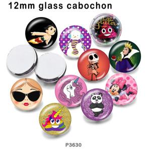 10 шт. / Лот, стеклянная печатная продукция с единорогом, различных размеров, магнит на холодильник, кабошон