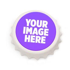 カスタムデザインの新しい7.7CMホワイトボトルキャップ形状写真印刷コルク栓抜き/冷蔵庫用マグネット