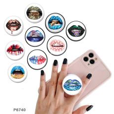 唇携帯電話ホルダー黒または白のプリントパターンベースの塗装済み電話ソケット