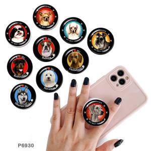 Chien Le support de téléphone portable Prises de téléphone peintes avec une base à motif imprimé noir ou blanc