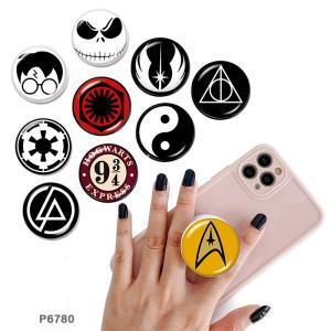 Harry Potter Le support de téléphone portable Prises de téléphone peintes avec une base à motif imprimé noir ou blanc