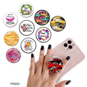 Girl Le support de téléphone portable Prises de téléphone peintes avec une base à motif imprimé noir ou blanc