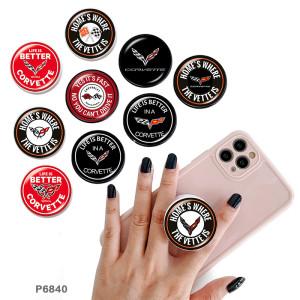 Compétition de voitures de course Le support de téléphone portable Prises de téléphone peintes avec une base à motif imprimé noir ou blanc