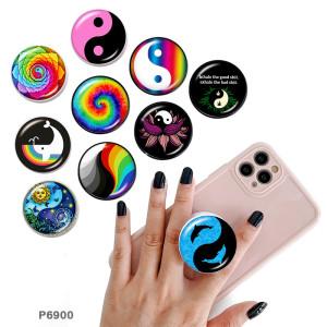 Tai Chi Le support de téléphone portable Prises de téléphone peintes avec une base à motif imprimé noir ou blanc