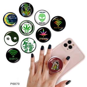 Croyance symbolique Le support de téléphone portable Prises de téléphone peintes avec une base à motif imprimé noir ou blanc