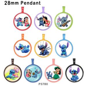 10 pcs/lot dessin animé OHANA produits d'impression d'images en verre de différentes tailles cabochon d'aimant de réfrigérateur