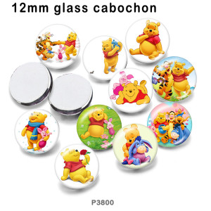 10 pcs/lot Cartoon Les produits d'impression d'image en verre d'ours de différentes tailles Cabochon d'aimant de réfrigérateur