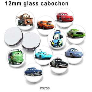 10 pcs/lot produits d'impression d'image en verre de voiture de bande dessinée de différentes tailles cabochon d'aimant de réfrigérateur