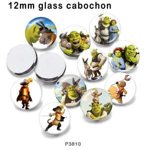 10 pcs/lot produits d'impression d'images en verre de dessin animé de différentes tailles cabochon d'aimant de réfrigérateur